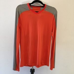 Lululemon Mens Orange Gray Long Sleeve Shirt  M